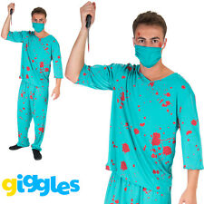 Mens Bloody Scrubs Costume Scary Surgeon Doctor Halloween Fancy Dress Outfit