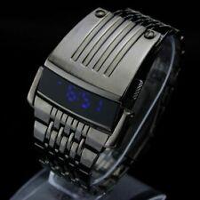 Men Digital Big Wrist Watch Iron Man Style LED Display Stainless Steel Watches