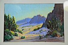 "Louis Heinzman 1942 Original Oil Pastel Landscape ""Desert Verbena"" Listed Artist"