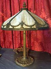 Vintage Antique Bradley & Hubbard / Miller Slag Glass Table Lamp