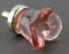 Pink Glass Flower Rose Cabinet Knob Drawer Pull