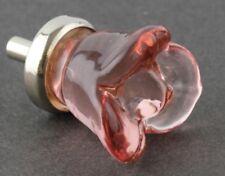 Pink Glass Flower Rose Cabinet Knob Drawer Pull