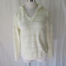Love Always Womens Sweater Top Large Long Sleeve V-Neck Hoodie Cream H