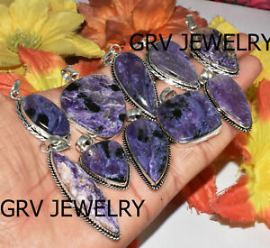 200pcs Natural Charoite Gemstone Pendant 925 Sterling Silver Plated Wh-43