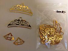 Card Embellishments Die Cuts Tiara & Diamond Gold Mirror Card Qty 20 (2x10)