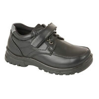 Boys Back To School Shoes Kids Black Faux Leather Sports Casual Trainers Size