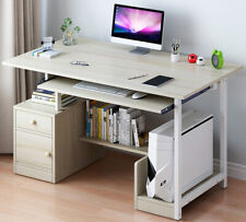 Computer Desk Office Study Writing Table Laptop Workstation Home With Cabinet