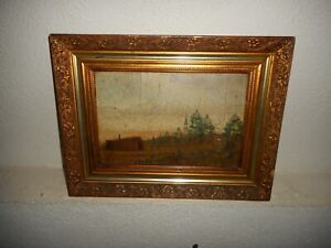 Very old  oil painting, { Landscape with soldiers marching, great frame ! }.