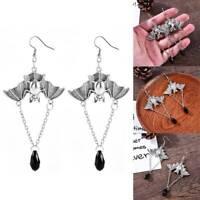 Halloween Vintage 925 Silver Bat Drop Dangle Earrings Ear Stud Women Jewelry