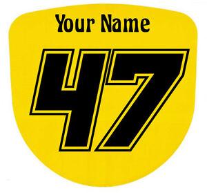 3 x Custom Race Numbers and Name Stickers Decals Kart Motocross MX Dirt Bike S10