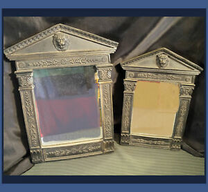 """Pair Wall Hanging Mirrors 16"""" & 13"""" LION Motif Bas Relief Antique Look ~ Resin"""