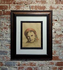 Leon Wyczólkowski -Portrait of a woman in a Red Headscarf-Pastel Drawing