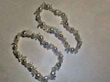 10 NEW Luster Cultured Pearl & Sparkling Rock Crystal Bracelets NICE
