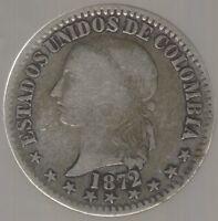 COLOMBIA COIN BOGOTA 2 DECIMOS 1872  VF-