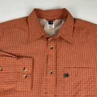 The North Face Button Front Shirt Men's Large Orange Checks Camping Hiking