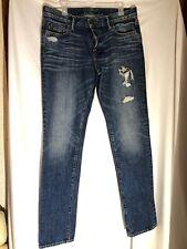 A&F Abercrombie & Fitch Dark Distressed Holes Mens 34 X 34 Jeans LkNew