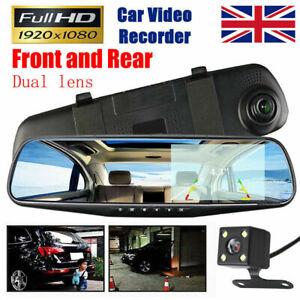 """1080P Dash Camera 4.3"""" Rear View Camera Car DVR Cam Reversing Mirror Recorder"""