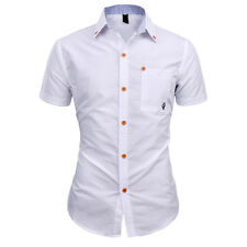 2016 New Fashion Men's Luxury Slim Fit Short Sleeve Casual Dress Shirts White