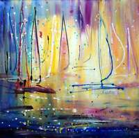 SUNRISE Ocean Aruba Abstract Boats Painting Pollock Drip Painting perfect gift