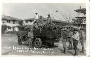~1930's FT. CLAYTON PANAMA CANAL ZONE - RPPC - 33rd Inf. Modal Loaded & Ready