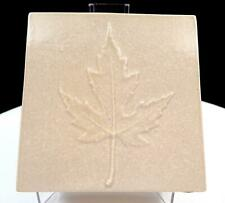"CANADIAN ART POTTERY SQUARE TAN EMBOSSED MAPLE LEAF 4 1/8"" VASE"