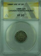 1888 Canda-Newfoundland 10c 10 Cent Silver Coin ANACS VF-20