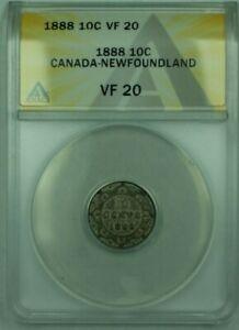 1888 Canada-Newfoundland 10c 10 Cent Silver Coin ANACS VF-20