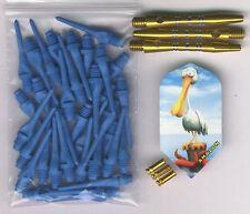"""""""Plastered Pelican"""" Soft Tip Dart Upgrade Kit: Blue Tips, Gold Shafts & More"""