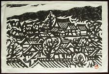 KIHEI SASAJIMA Original Takuzuri Woodblock Print, Japan Village, Signed #d 1964