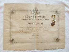 DIPLOMA E MEDAGLIA TERREMOTO CALABRO 1908 FIRMA GIOLITTI A MEDICO CROCE ROSSA