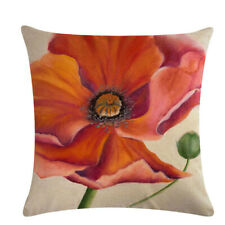 Home Textiles Red Flower Series Pillow Case Linen Cushion Cover Home Sofa Decor
