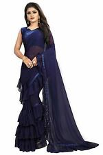 Women Georgette Ruffle Frill Diwali Special Blue Color Saree With Blouse Piece