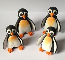 4 x 3D edible PENGUINS cake CUPCAKE topper DECORATION happy WINTER cute HAPPY