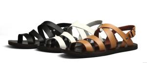 Men's Summer Leather Slingbacks Flats Roman Beach Sandals Buckle Shoes Plus Size