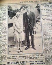 CHARLES LINDBERGH & Anne Morrow Post Honeymoon Airplane PHOTO 1929 Old Newspaper