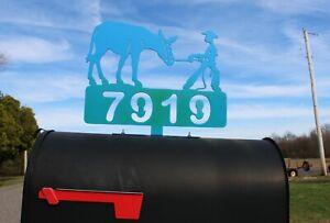 MULE and COWBOY Mailbox Topper Donkey Metal Art Personalized Plasma Cut