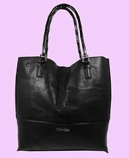 CALVIN KLEIN  NOVELTY Black Leather Reversible N/S Tote Bag Msrp $168.00