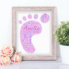 Personalised BABY FOOT PRINT Word Art Print Christening Congratulations Birth