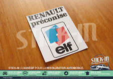 Autocollants Stickers Renault Préconise ELF GT Turbo R21 R19 R5 25 11 16S Alpine