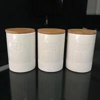 engraved ceramic tea coffee sugar storage canisters set bamboo lid storage jars