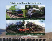 Madagascar 2018 MNH Steam Engines Locomotives 4v Impf M/S Trains Railways Stamps