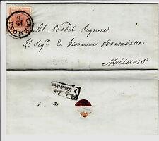 LOMBARDO VENETO-15 cent(5)-Letterina Cremona->Milano del 16.6.1853
