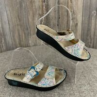 Alegria By PG Lite Sandals~ EUR 36 (US 6) Paisley Print Suede Leather Open Back