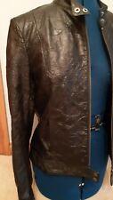 Womans Real Leather Black Biker Jacket, Size 10. Genuine leather