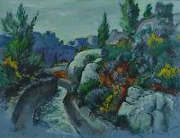 Grand Tableau ancien Beau paysage  Provençal Les Baux de Provence