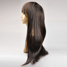 Black Color Women's Long Straight Wigs Ladys Synthetic Hair Full Wigs