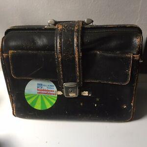 Vintage faux Leather GladStone Briefcase Doctors Black Case distressed Rau Kombi