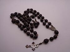 VINTAGE WOODEN BEAD ROSARY WITH SOME CARVED BEADS