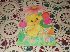 "Vtg Norcross Easter Duck Tulip Butterfly Die Cut Cardboard Decoration 10"" #2"