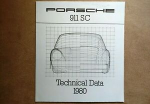 NICE ORIGINAL VINTAGE PORSCHE 911SC TECHNICAL DATA SHEET SALES BROCHURE 1980